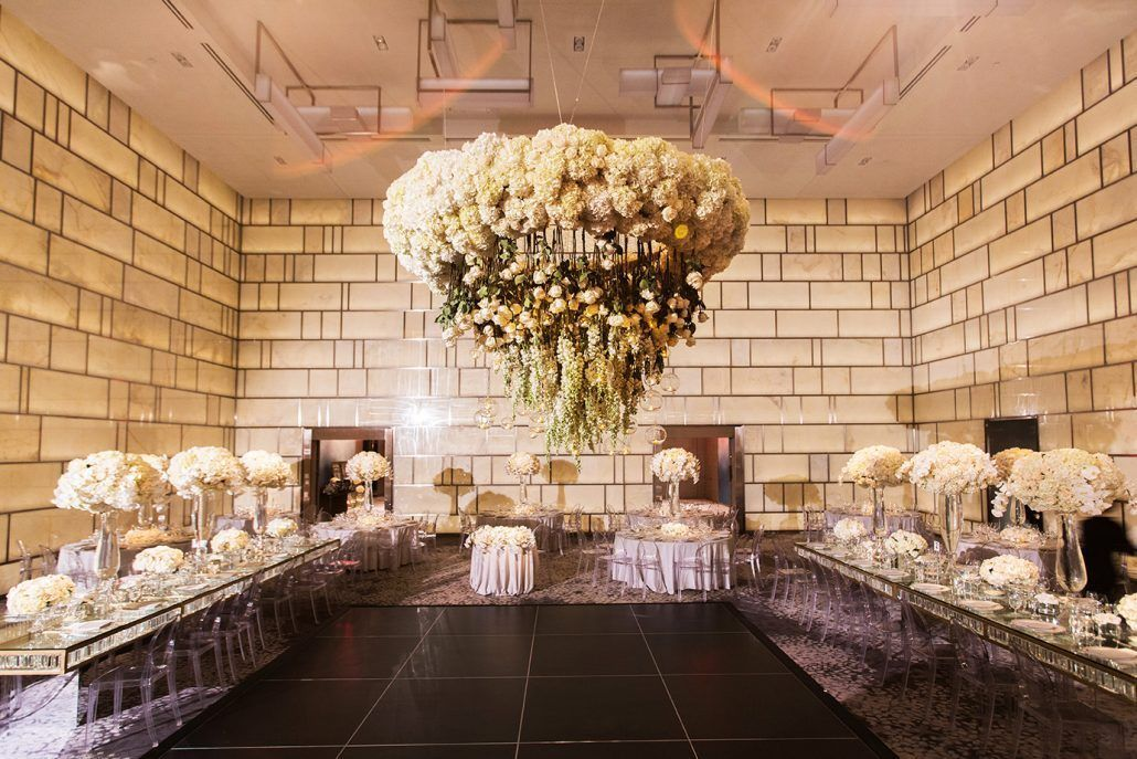 Ina and Kevin Wedding - Hanging Floral Chandelier - The Park Hyatt NYC - Christian Oth Studio