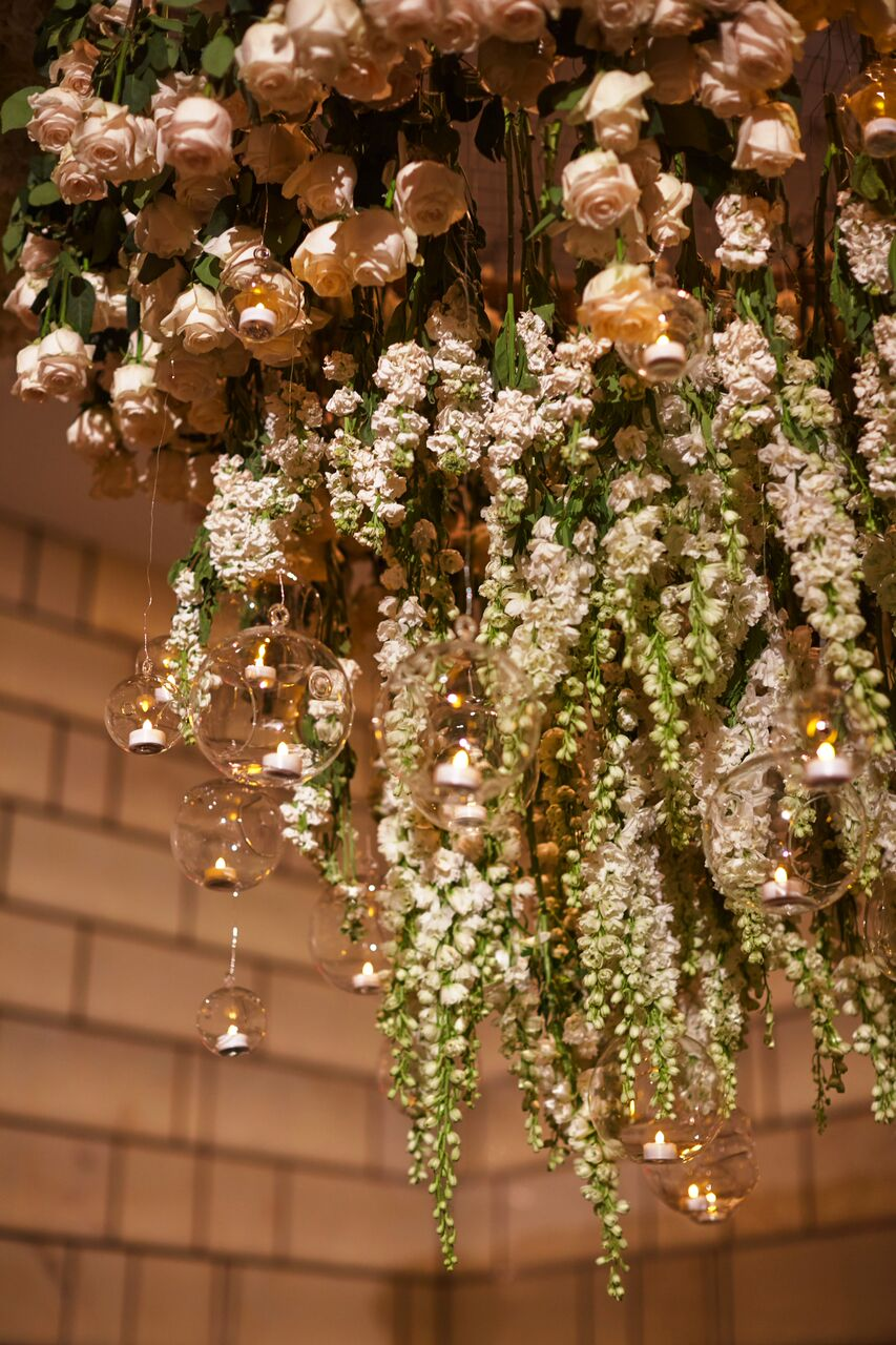 Beautiful ideas for hanging flowers on your wedding dance floor ina kevin wedding hanging rose and delphinium chandelier the park hyatt nyc arubaitofo Images