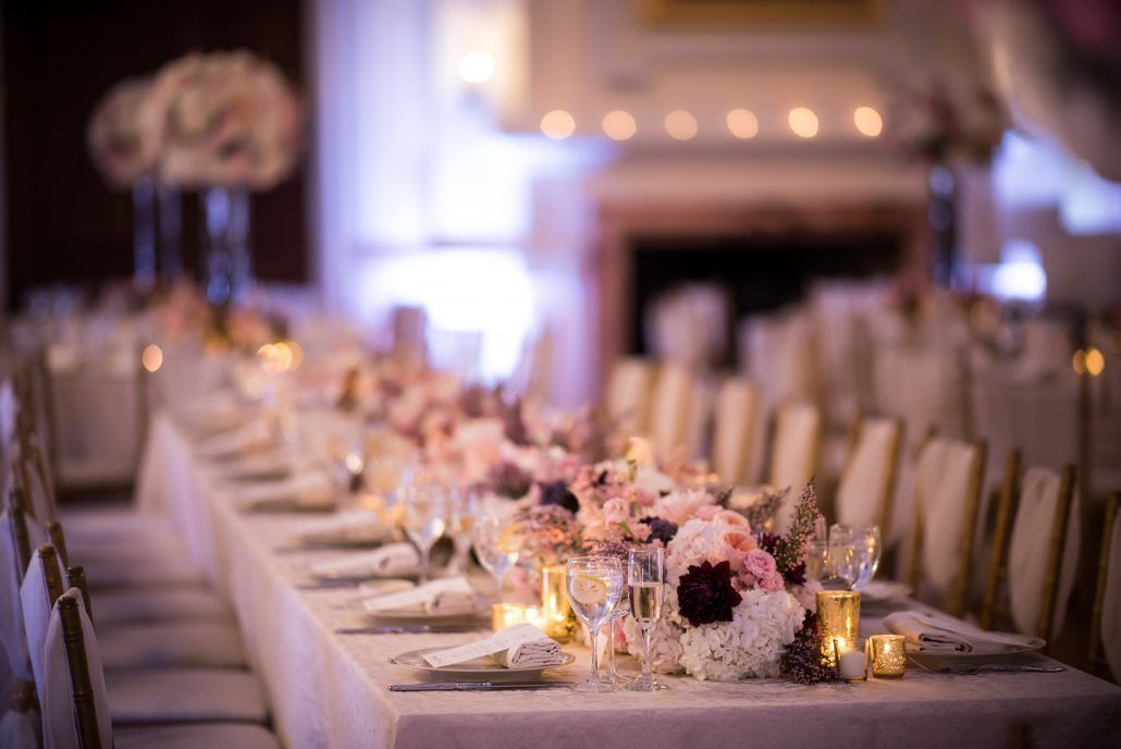 Kaitlyn & Thomas Wedding - Low Centerpieces - Oheka Castle - by Susan Stripling