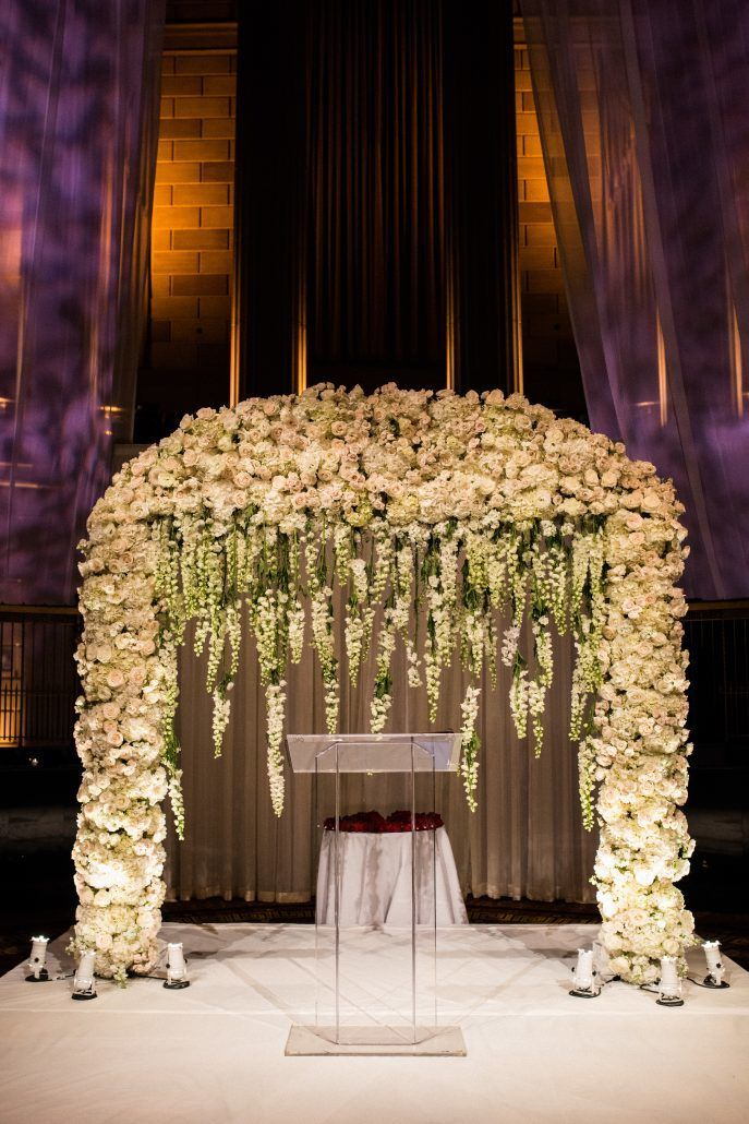Sunita & Daren Wedding - Ceremony Arch Hydrangea Rose Delphinium - Gotham Hall NYC - Kirra Cheers Photography