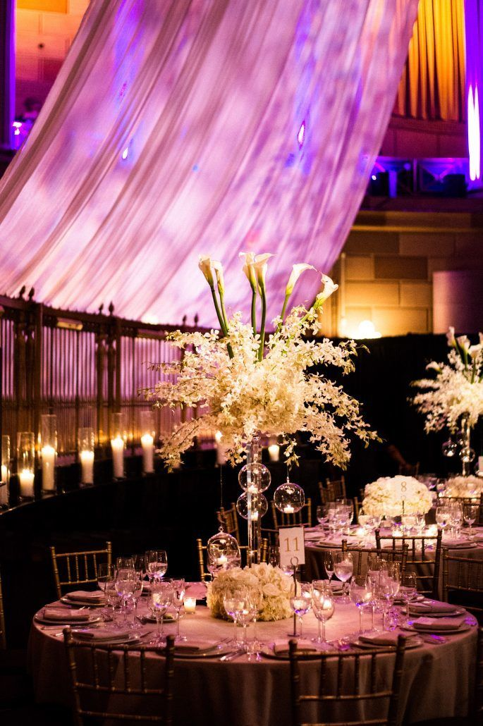 Sunita & Daren Wedding - High Centerpiece Dendrobium Orchid Calla Lily - Gotham Hall NYC - by Kirra Cheers Photography