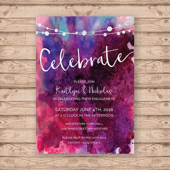 Watercolor invitation by Paper Crush on Etsy.com