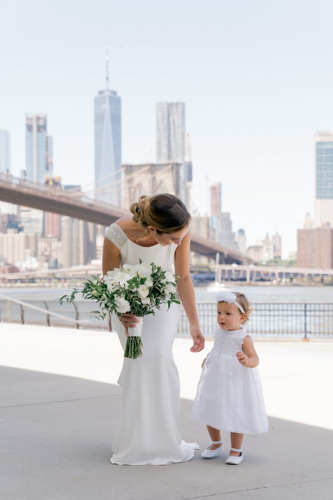 Aerin and Steven Wedding - Bride Flower Girl - 26 Bridge Brooklyn - Susan Shek Photography