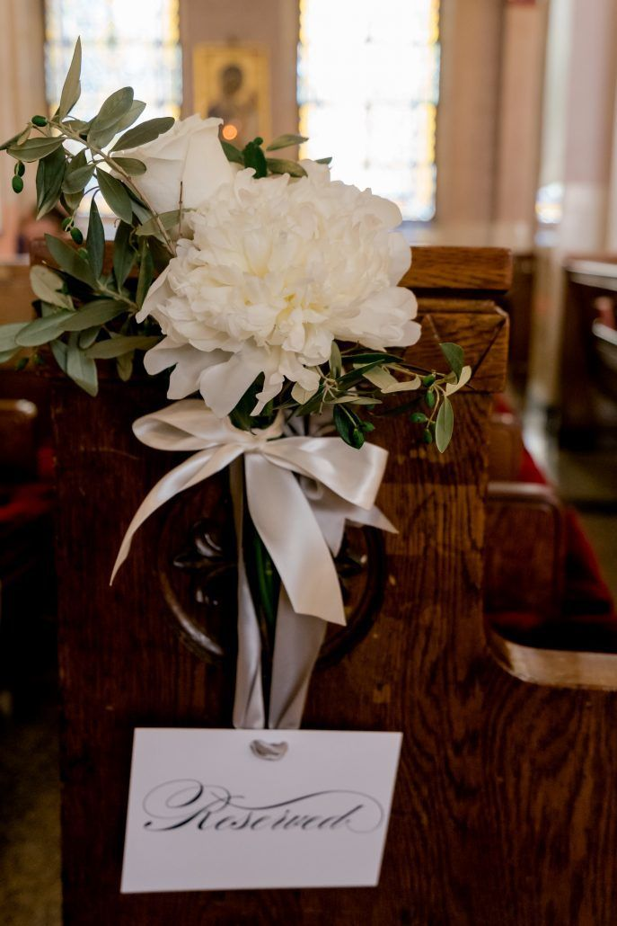 Aerin and Steven Wedding - Pew Flowers - Holy Trinity Cathedral Manhattan - Susan Shek Photography