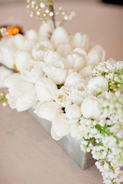 white tulip centerpiece - via snippetandink.com