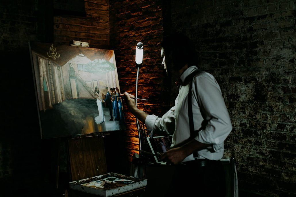 Ashley & Tiffany Wedding - Live Painter Captured on Canvas - Green Building Brooklyn - by Amber Gress