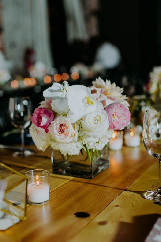Ashley & Tiffany Wedding - Low Centerpiece Hydrangea Dahlia Garden Rose Phalanopsis Orchid - Green Building Brooklyn - by Amber Gress