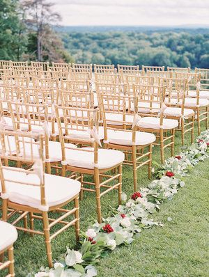 Kate & Chase - Aisle Arrangements - Mansion at Natirar - by Sally Pinera