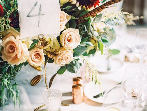 Kate & Chase Wedding - Low Centerpiece - Mansion at Natirar - by Sally Pinera