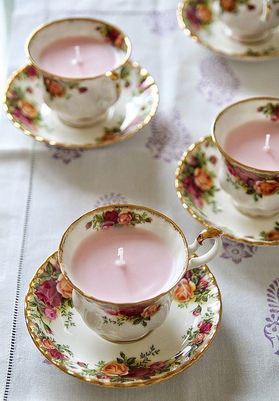 vintage tea cup candles - via mykitchenantics.com