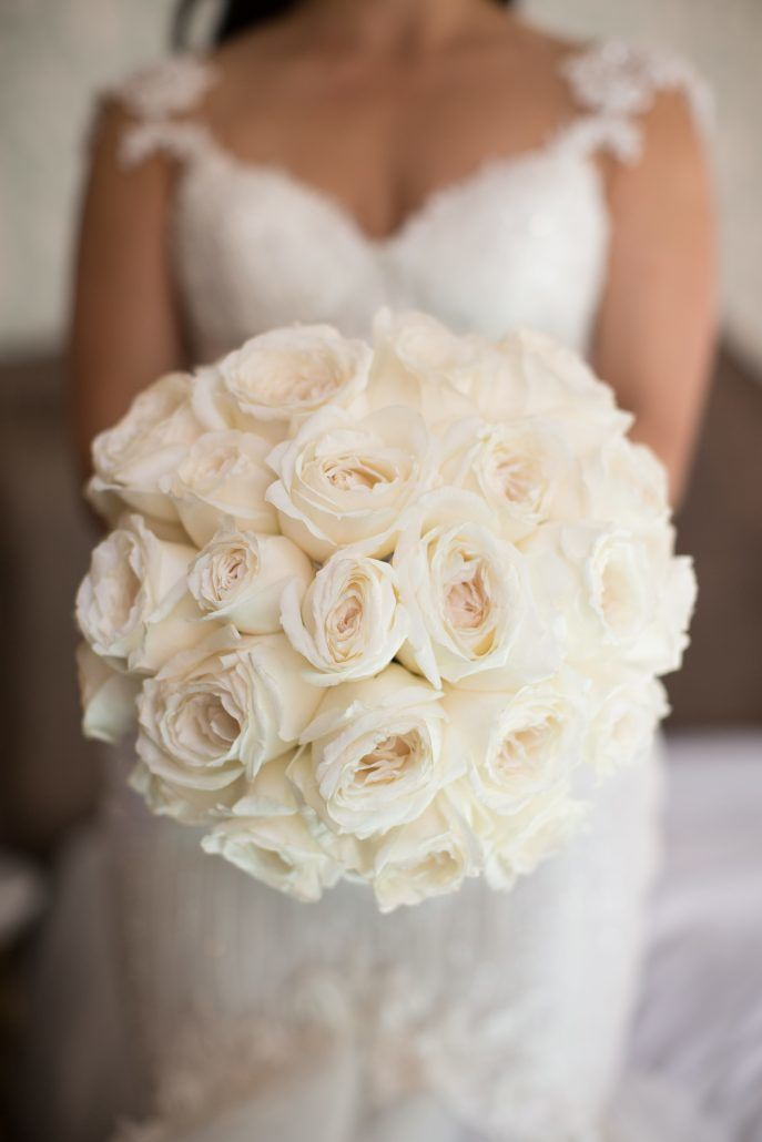 Sophia & Sam Wedding - Bridal Bouquet Miyuki Rose - Tribeca 360 NYC - by Shira Weinberger