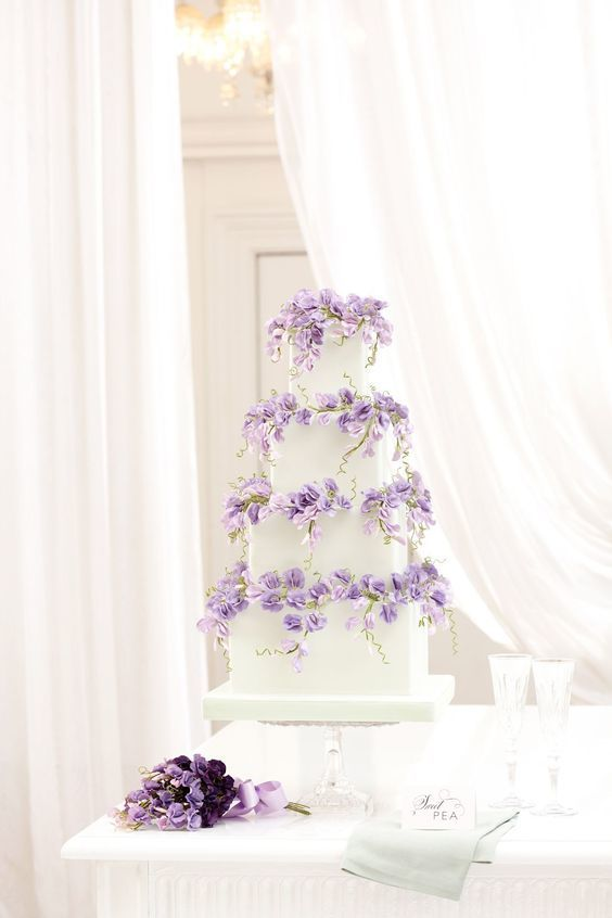 Lavender Sweet Pea Wedding Cake - via bridesmagazine.co.uk