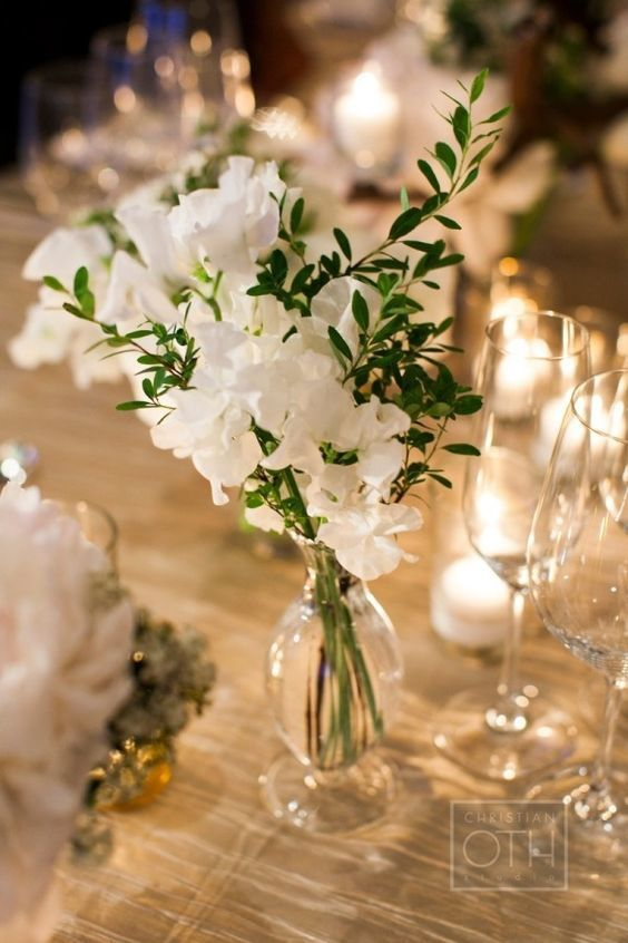 White Sweet Pea Centerpiece - via stylemepretty.com