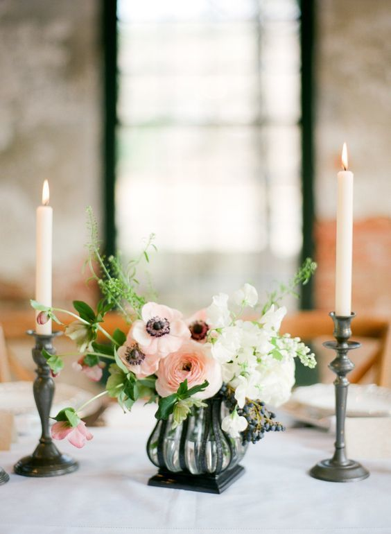 Sweet Pea Centerpiece - via marthastewartweddings.com