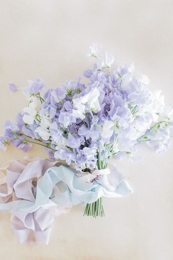 Lavender White Sweet Pea Bouquet - via pinterest.com
