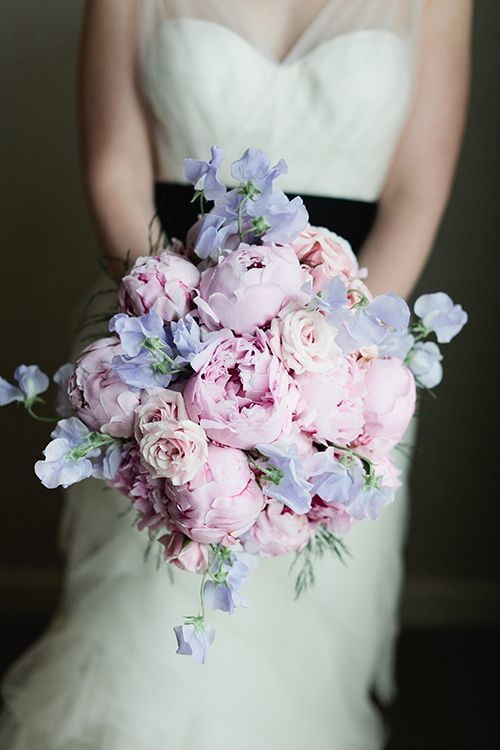 Sweet Pea Peony Bouquet - via bellethemagazine.com