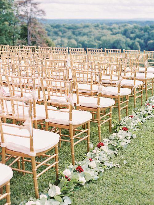 Kate & Chase Wedding - Aisle Garland - Mansion at Natirar - by Sally Pinera