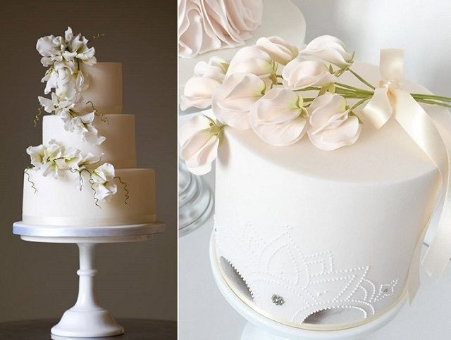 White Sweet Pea Wedding Cake - via cake-geek.com