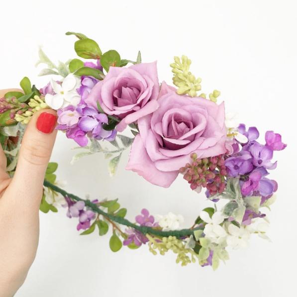 Purple Floral Crown - via crownsbychristy.com