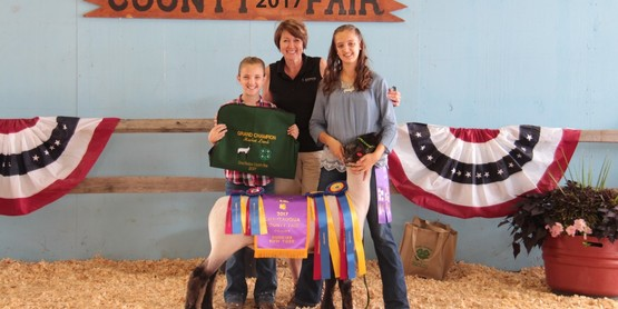 The 4-H Meat Animal Sale will take place Friday, July 20th, 2018 at 12:00pm. Pictured is Rachel Harper and the 2017 4-H Grand Champion Market Lamb purchased by Chautauqua Patron's Insurance Company.