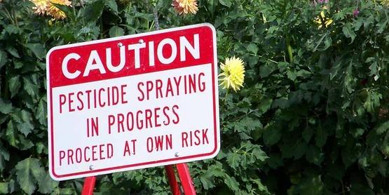 caution sign re: pesticide use