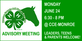 The Monroe County 4-H Horse Advisory will meet on Monday, June 24 at 6 p.m. in the Conference Room at Cornell Cooperative Extension of Monroe County.