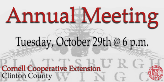 Title of Annual Meeting with date and time of Tuesday October 29th at 6 pm. Plattsburgh Brewing Company logo in background.