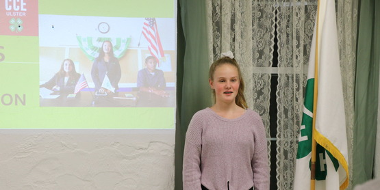 Lana presents the 4-H Pledge at the 2019 4-H Awards and Recognition Ceremony