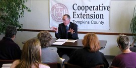 Photo of Mike Danaher, NYS Assistant Attorney General, leads a monthly Consumer Issues program at Cornell Cooperative Extension of Tompkins County.