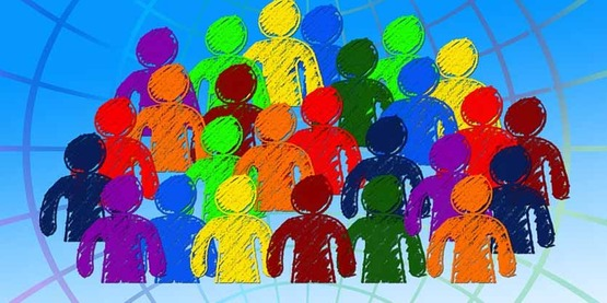 drawing of a group of diverse people