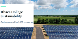 solar panels in a sunny landscape, text IC Sustainability - Carbon neutral by 2050 or sooner.
