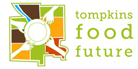 Logo for Tompkins Food Future consisting of a map of Tompkins County overlaid with hands and a plate