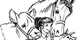 Girl cow and horse