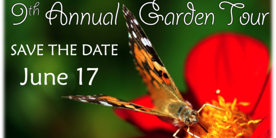 Save the date. garden tour. 2017 butterfly