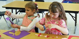 Children making cards in kindergarten