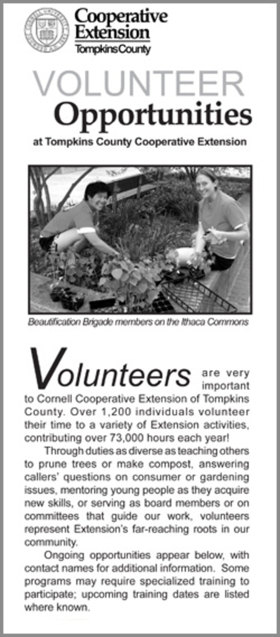 Cover of CCE-Tompkins Volunteer Brochure