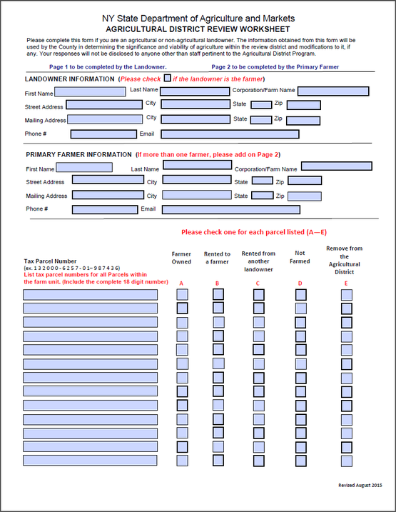 Ag District Worksheet