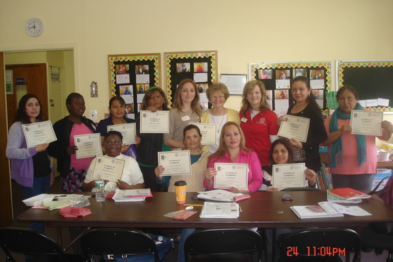 Students in a nutrition course getting their certificates of completion