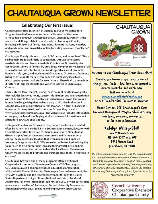 Chautauqua Grown Newsletter #1