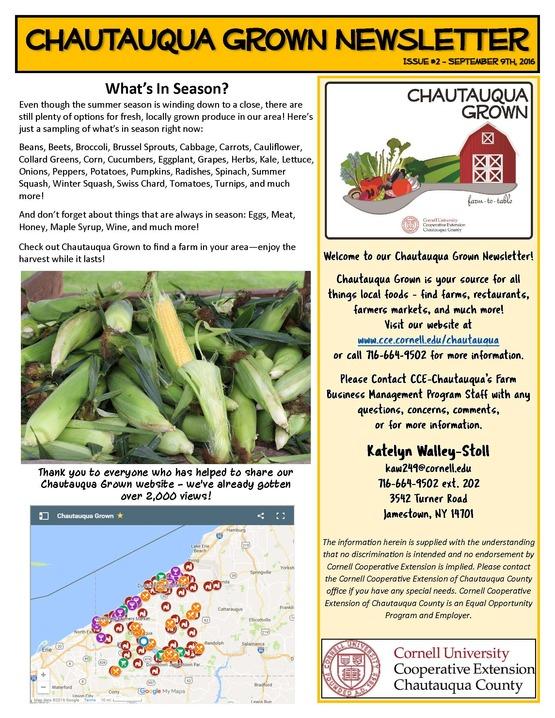 Chautauqua Grown Newsletter #2