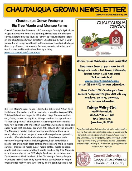 Chautauqua Grown Newsletter #3