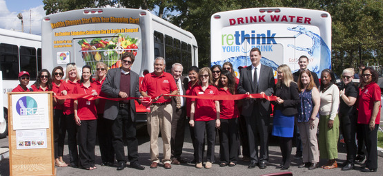 ReThink your Drink bus display for Eat Smart New York ribbon cutting with Vito and the nutrition education staff
