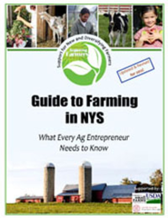 Cover image of Guide to Farming in NYS publication, 200px wide for use in sidebars as link