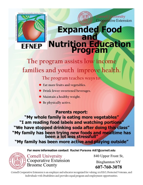 Broome County Expanded Food & Nutrition Program flier