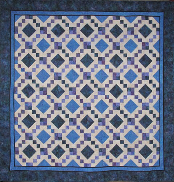 Calico Geese Quilters Blue Diamonds Quilt