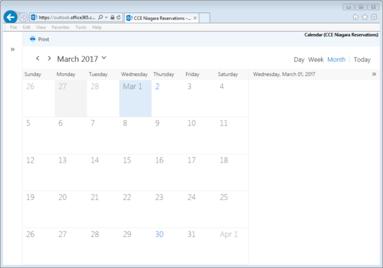 CCE Niagara Reservations calendar