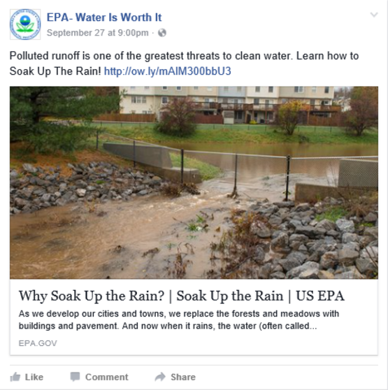 EPA facebook post water quality runoff