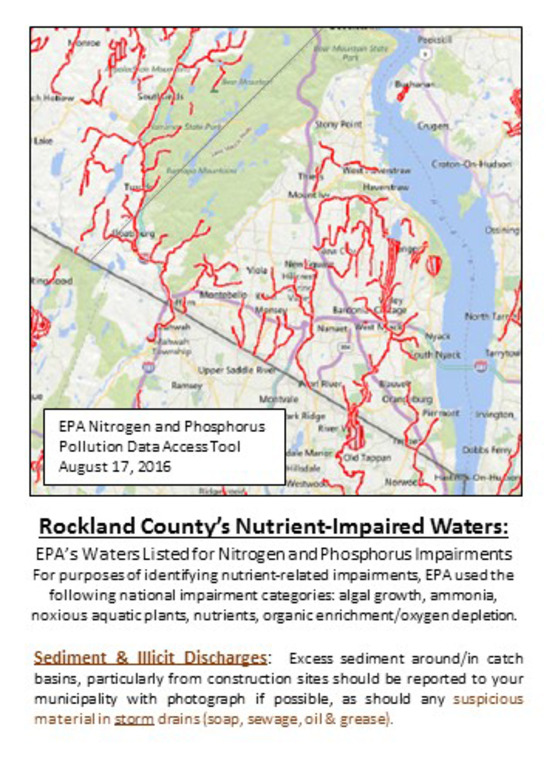 Map of Rockland's Nutrient Impaired Waters