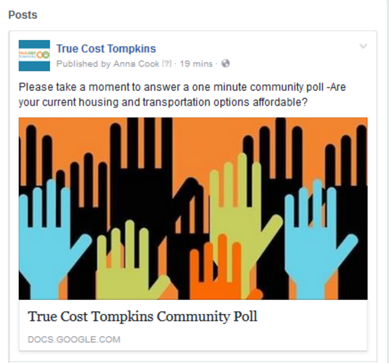 True Cost Tompkins Facebook post screenshot.