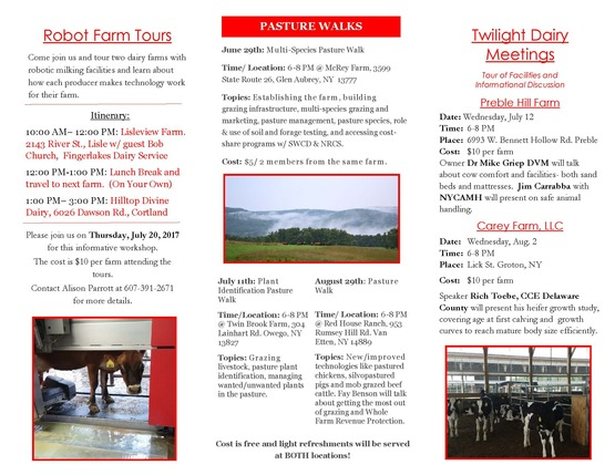 Dairy & Field Crops Summer 2017 schedule part 2